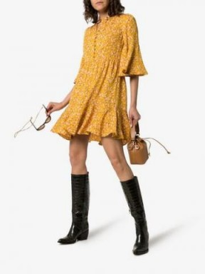 By Timo Sunshine Button Down Front Dress in Yellow / flared floral print frock