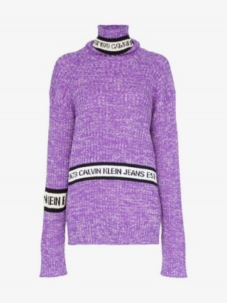 Calvin Klein Jeans Est. 1978 Turtleneck Wool Logo Sweater in Purple ~ high neck slouchy jumper