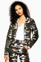 TOPSHOP Camouflage Funnel Neck Shacket / camo print jacket