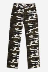 TOPSHOP Camouflage Straight Leg Trousers in Khaki