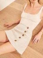 Reformation Candella Skirt in Sand | neutral mini