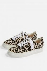 Topshop CANDY Lace Up Trainers in Nude | animal print sneakers