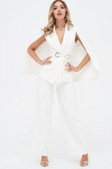 LAVISH ALICE cape jacket with hardware eyelet trim belt in white – going out jackets
