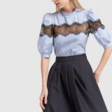G. Label CARI STRIPE-AND-LACE BLOUSE in Blue / White | puff sleeved blouses
