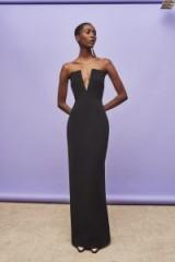 SOLACE LONDON Cassini Maxi Dress Black ~ strapless deep plunge gown