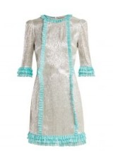 THE VAMPIRE'S WIFE Cate metallic silk-blend chiffon mini dress in silver and turquoise trim | luxe prairie style fashion
