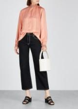 CECILIE COPENHAGEN Nova jacquard top in peach ~ luxe long sleeve high neck blouse