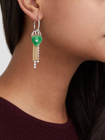 BOTTEGA VENETA Chain and green guilloché heart drop earrings