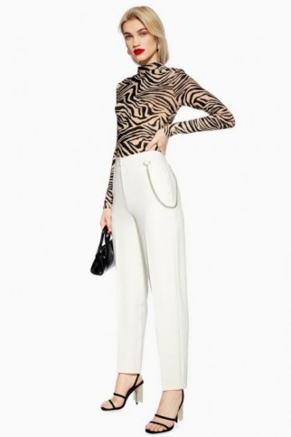 Topshop Chain Peg Trousers in Ivory | smart neutral pants