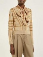 BURBERRY Chain-intarsia beige silk-blend cardigan ~ designer patterned cardigans