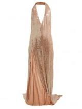 ASHISH Chandra halterneck sequinned dress ~ thigh-high split gowns ~ glamorous event wear