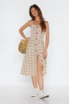 NASTY GAL Check Botton Front Midi Dress in beige – front button up sundress