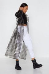 NASTY GAL Check Clear Trench Coat in Black – transparent macs