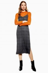 TOPSHOP Check Denim Midi Dress in Black