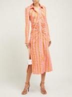 ALTUZARRA Claudia ruched gingham-jersey midi dress ~ orange and pink checks