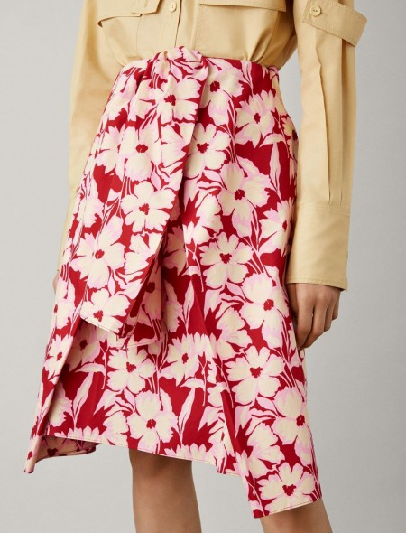 JOSEPH Clive Cotton Print Skirt in Crimson / red floral wrap style skirts