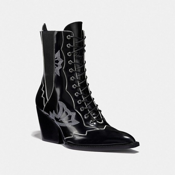 COACH Lace Up Bootie With Western Stitch in BLACK | chunky heeled boots worn with prairie dress