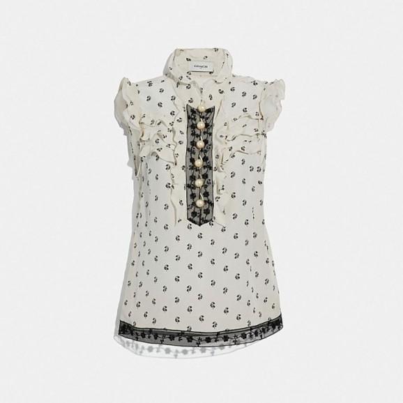 COACH Lily Print Victorian Top in CREAM | feminine prairie fashion