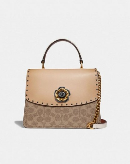 COACH Parker Top Handle In Signature Canvas With Rivets TAN BEECHWOOD/PEWTER / luxe bags