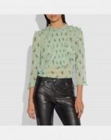 COACH Scribble Floral Print Ruffle Top in SEAFOAM   prairie style ruffled blouse