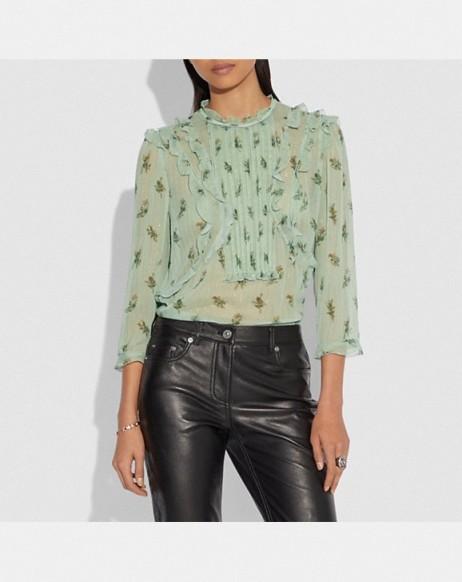 COACH Scribble Floral Print Ruffle Top in SEAFOAM | prairie style ruffled blouse