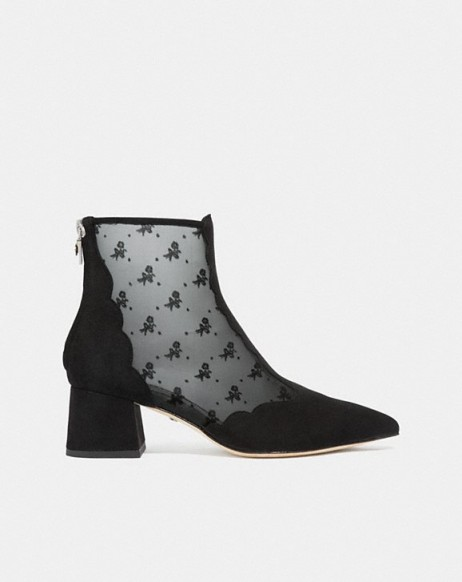 COACH Skyler Ankle Bootie With Tea Rose Mesh in BLACK | pretty prairie style boot