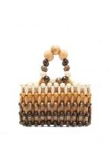 CULT GAIA Cora wooden-beaded bag ~ small brown wood-bead handbag