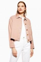 TOPSHOP Corduroy Shacket in Blush – light pink frayed hem shackets