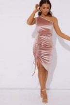 in the style COREY BLUSH ONE SHOULDER VELVET MIDI DRESS ~ going out glamour