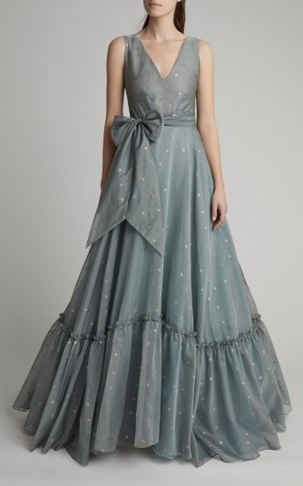 Luisa Beccaria Cotton-Blend Organdy Ball Gown in Blue ~ red carpet gowns - flipped