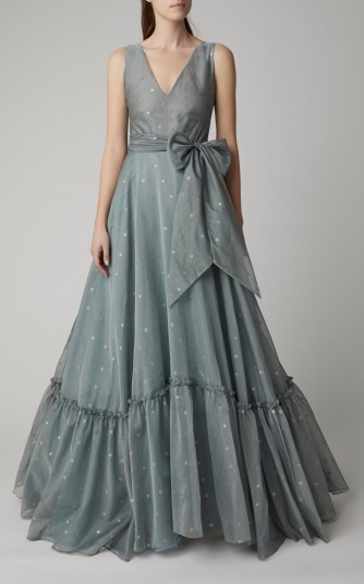 Luisa Beccaria Cotton-Blend Organdy Ball Gown in Blue ~ red carpet gowns