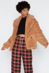 NASTY GAL Cover Your Back Faux Fur Coat in beige – fluffy light brown jacket
