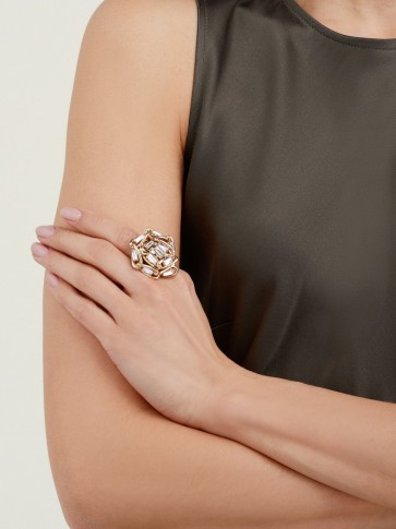 ROSANTICA BY MICHELA PANERO Crystal-embellished flower ring ~ chunky statement rings
