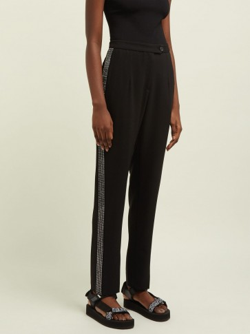 CHRISTOPHER KANE Crystal-embellished high-rise trousers in black