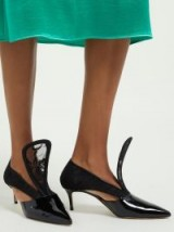 CHRISTOPHER KANE Cut-out lace-insert patent-leather pumps in black ~ bold statement style shoes