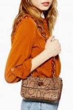 TOPSHOP Cyprus Shoulder Bag in Natural – snake print handbag