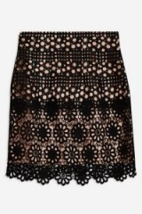 TOPSHOP Daisy Lace Mini Skirt in Black / floral skirts