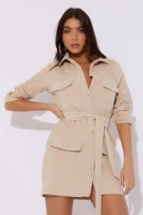 DANI DYER NUDE CORD UTILITY DRESS ~ utilitarian shirt dresses