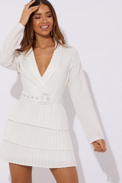 DANI DYER WHITE TIERED FRILL BLAZER MINI DRESS ~ pleated occasion dresses