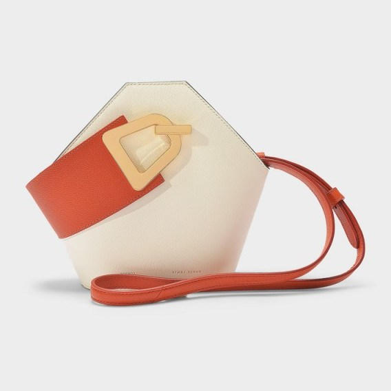 danse lente MINI JOHNNY BUCKET BAG IN COTTON AND GINGER LEATHER – colour-block hexagon - flipped