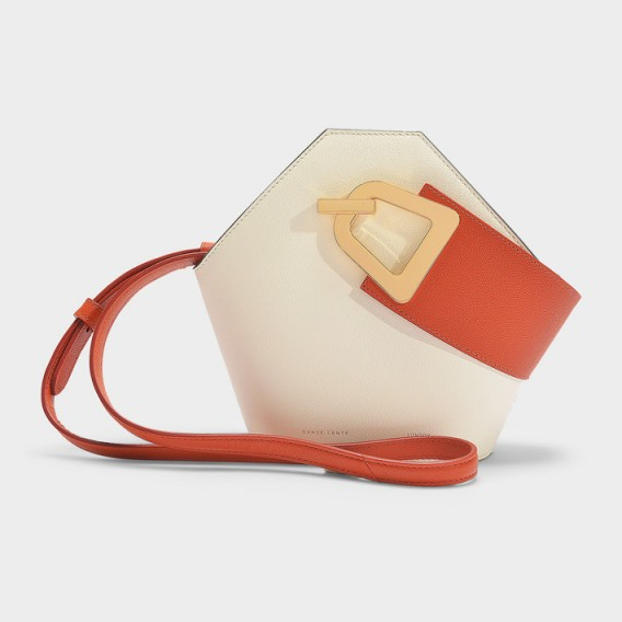 danse lente MINI JOHNNY BUCKET BAG IN COTTON AND GINGER LEATHER – colour-block hexagon