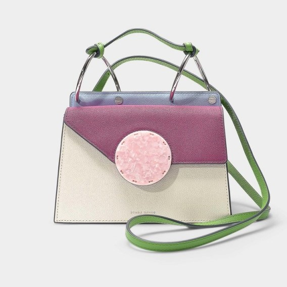 danse lente PHOEBE BIS BAG IN COTTON AND MAGENTA LEATHER – colour-block cutie - flipped