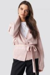MANGO Danza Cardigan in Light Pink – slouchy wrap cardi