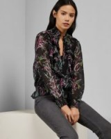 Ted Baker CALIO Dark Fortune smocked neck top in black – front ruffled blouse