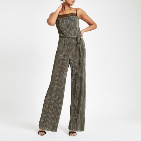 RIVER ISLAND Dark green lace trim plisse jumpsuit – cami strap jumpsuits