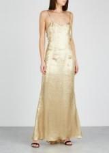 DE LA VALI Pepe gold lamé maxi dress ~ luxe metallic slip dresses