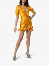 De La Vali Shanna Silk Dress ~ plunge front / side gathered mini