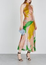 DE LA VALI Vivienne printed halterneck silk dress
