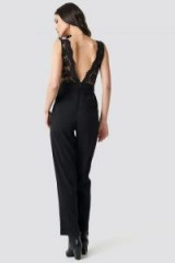 NA-KD Party ~ Deep Back Lace Detail Jumpsuit Black