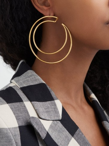 MISHO Demilune 22kt gold-plated hoop earrings ~ large double hoops